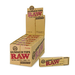 RAW Perforated Gummed Rolling Tips (Display)