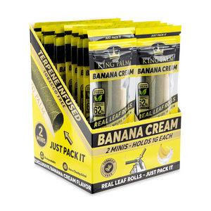 King Palm 2 Mini Size Flavored Pre-Rolled Cones (Display) - Banana Cream