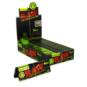 RAW Black Organic Hemp Rolling Papers (Display) - 1¼