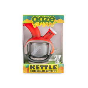 Ooze Kettle Silicone Glass Water Pipe (Single Unit) - Black/Grey/Red