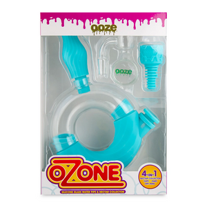 Ooze Ozone Silicone Glass Water Pipe & Nectar Collector (Single Unit) - Aqua Teal