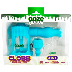 Ooze Clobb Silicone Glass Water Pipe & Nectar Collector (Single Unit) - Aqua Teal