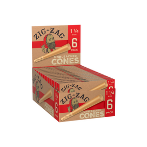 Zig-Zag Unbleached Pre-Rolled Cones (Display) - 1¼