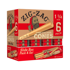 Zig-Zag Unbleached Pre-Rolled Cones (Promo Display) - 1¼