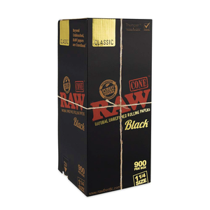 RAW Classic Black Pre-Rolled Cones (Bulk) - 1¼