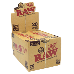 RAW Classic Single Wide Pre-Rolled Cones (Display) - 70/24