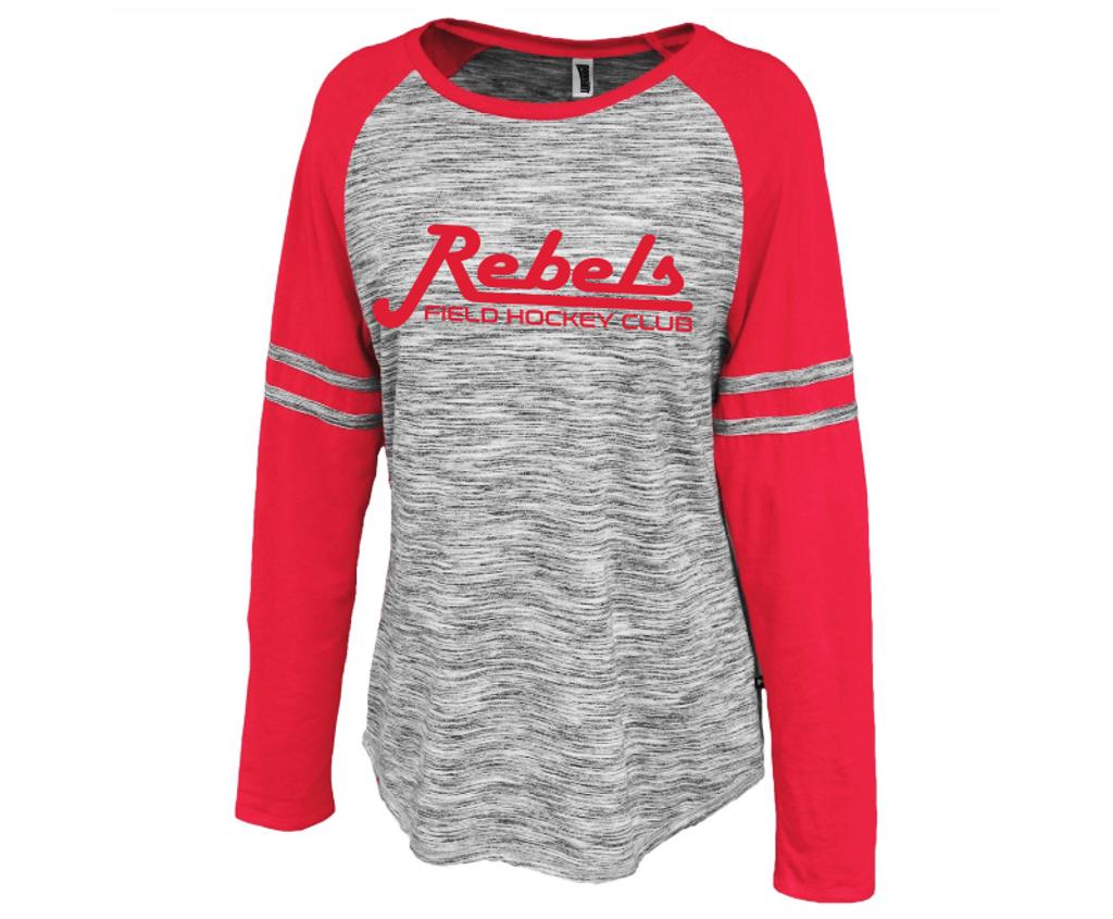 Rebels FH Ladies-Cut Space Dyed Tee, Gray/Red