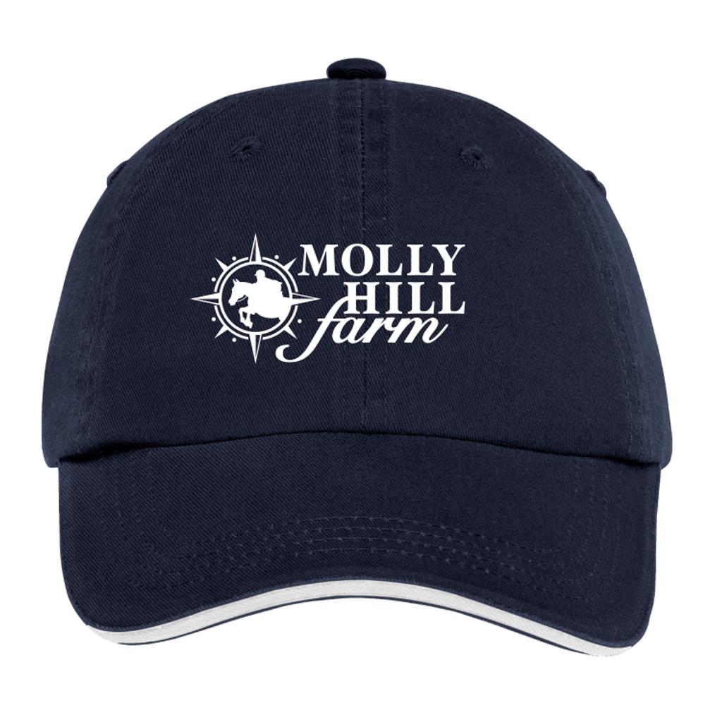Molly Hill Farm Twill Adjustable Baseball Hat, Navy/White