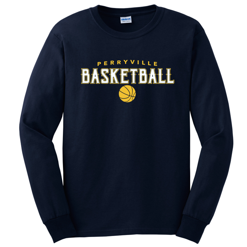 Perryville MS Basketball LONG Sleeve Tee, Navy