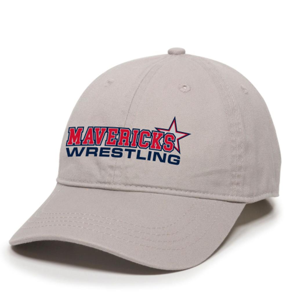 Mavericks Wrestling Adjustable Twill Hat, Light Gray
