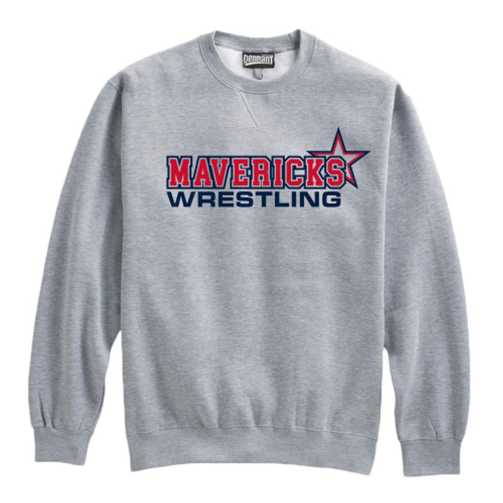 Mavericks Wrestling Crewneck Sweatshirt, Gray