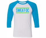 Sweat DC 3/4 Sleeve tee, White/ Neon Blue