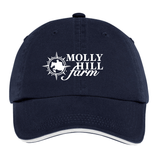 Molly Hill Farm Twill Adjustable Baseball Hat, Navy/White