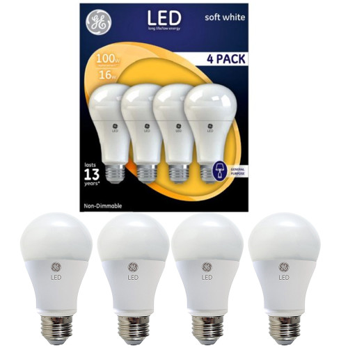 4-Pack GE LED Lighting A21 Non Dimmable Soft White 15w 100w Replacemnt Bulbs Light WLM8 92924