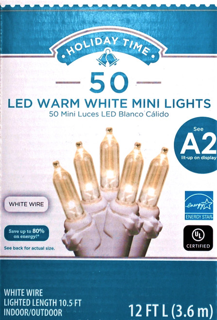 Holiday Time 50 LED WARM White Mini Lights White Wire Set Christmas Wedding Party Fairy String Tree Decoration WLM8 78154 A2