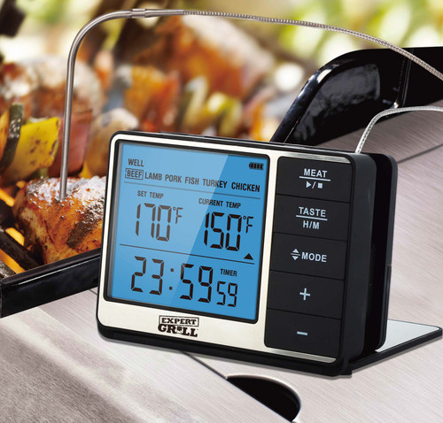Expert Grill Deluxe Grilling Thermometer Built-in Timer LCD Magnetic Base BBQ Cooking Kitchen WLM8 701250