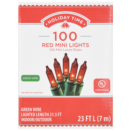 Holiday Time 100 RED Mini Lights Green Wire Set Christmas Tree Decoration String Bulbs Party WLM8 66554-OR