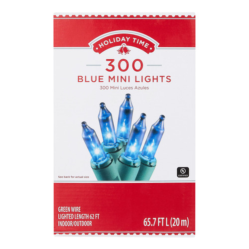 Holiday Time 300 BLUE Mini Lights Bulbs GREEN Wire String Fairy Christmas Tree Party Outdoor Indoor WLM8 57168