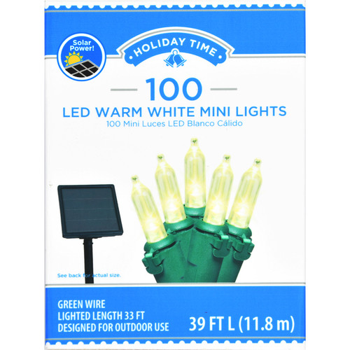 Holiday Time 100 Solar Powered LED Warm White Mini Lights Green Wire Set Christmas String Tree Decoration WLM8 76030