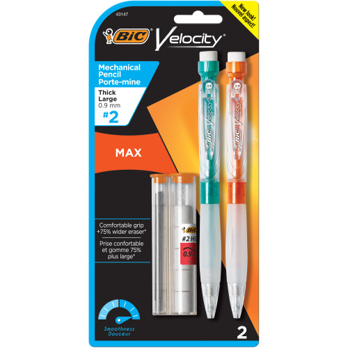 2-Count BIC Velocity Max Mechanical Pencil Thick Point (0.9 mm) #2 School Supplies Office Student WLM8 43147