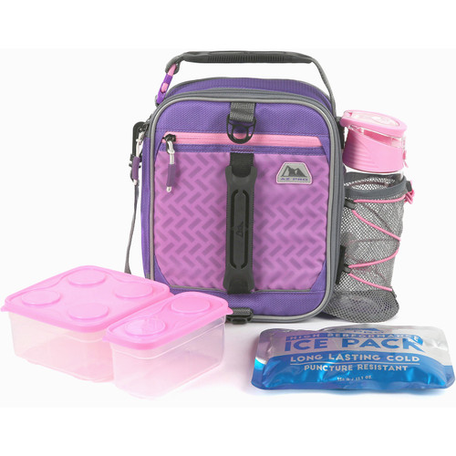 Arctic Zone Expandable Box Lunch Bag Pack Set Az Pro High Performance Dual Compartment (Purple/Pink) Insulated Container Student Schoool SM8 52232