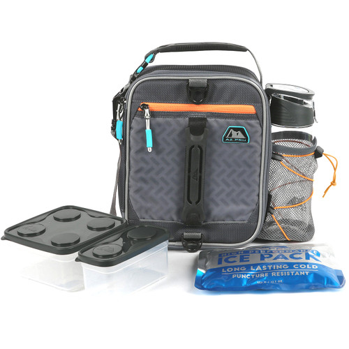 Arctic Zone Expandable Box Lunch Bag Pack Az Pro High Performance Dual Compartment (Black/Gray) Insulated Container Student Schoool SM8 52229