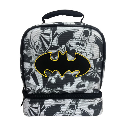 DC Batman Dual Compartment Lunch Bag Container Food Student School Kids Boys- WLM8 (22229)
