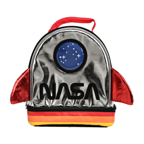AI NASA Silver Rocket Lunch Tote Bag Dual Compartment Insulated Food Student School - WLM8 (21705)