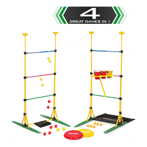 Go Gater 4-in-1 Outdoor Sports Game (Ladder Ball Party Pong Bottle Smash & Disc Toss) Yard Tailgate Backyard - WLM8 (001897)