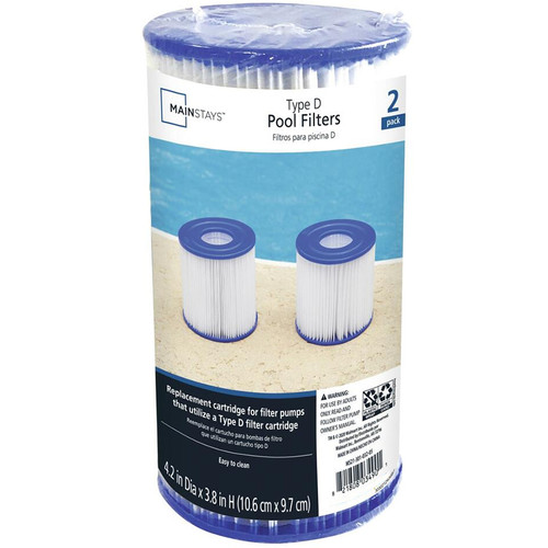 Mainstays (Twin Pack) Type D Filter Cartridge for Swimming Pools Replacement Pump Parts Accessory - WLM8 (03490)