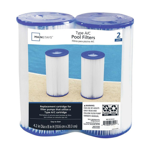 Mainstays Type A or C (Twin Pack) Filter Cartridge for Swimming Pools Pump Replacement Parts - WLM8 (03491)