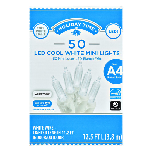 Holiday Time 50 Led COOL White Mini Lights WHITE WIRE Set Christmas Fairy String Tree Decoration WLM8 40870 A4