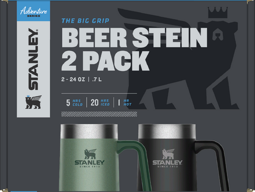 Stanley Adventure Vacuum Insulated Big Grip Stein (2-Pack) 24oz Drinking Cup Stainless Steel - Hammertone Green and Matte Black - WLM8 (34671)