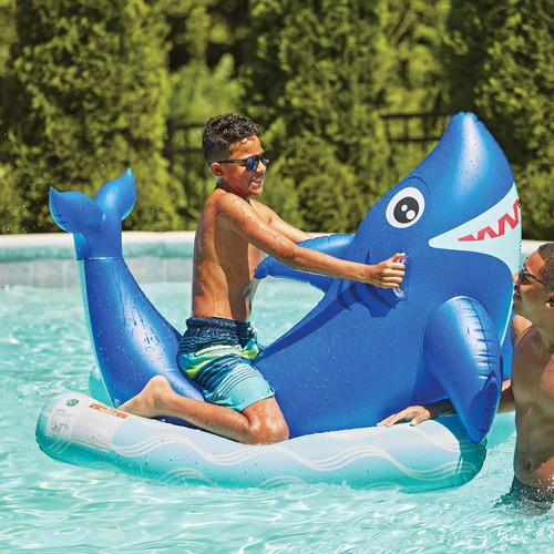Members Inflatable SHARK Ride-On Swimming Pool Float Oversized Lake Floating Water Toy Summer SM8 08994