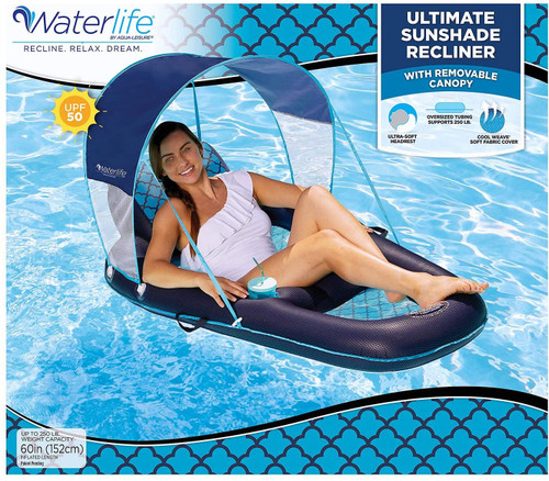 Waterlife Ultimate Sunshade Recliner Swimming Pool Float Lounge Inflatable Water Floating Summer SM8 00332
