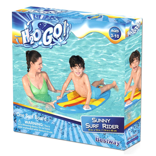 H2OGO! Sunny Surf Rider Kids Swimming Pool Float 45 x 18 in Inflatable Bodyboard Floating - WLM8 (10481)