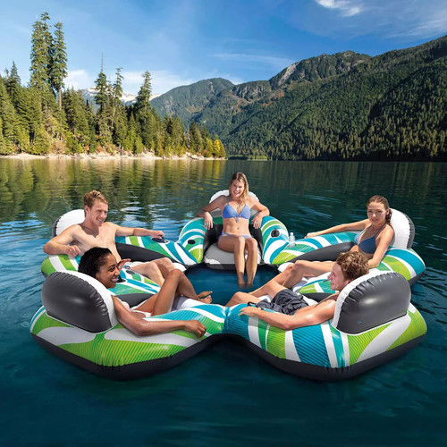 Intex Inflatable Funtastic Five Floating Island 5-Person Water Tube Float Raft River Lake Sports SM8 57278