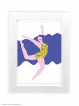Fran Hooper  Blue Hair Leopard Print  - Quality A3 / A5 Framed Print (Choice of Black or White Frame)