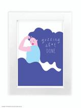 Fran Hooper  Blue Hair Getting Shit Done  - Quality A3 / A5 Framed Print (Choice of Black or White Frame)