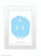 Fran Hooper Blue Hair Grooming Required  - Quality A3 / A5 Framed Print (Choice of Black or White Frame)