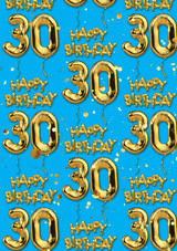 30th Birthday Gold Balloon Blue Gift Wrap