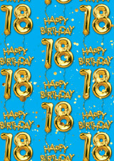 18th Birthday Gold Balloon Blue Gift Wrap