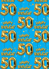 50th Birthday Gold Balloon Blue Gift Wrap