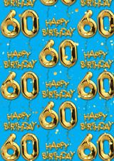 60th Birthday Gold Balloon Blue Gift Wrap