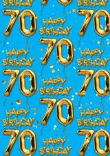 70th Birthday Gold Balloon Blue Gift Wrap