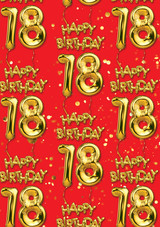 18th Birthday Gold Balloon Red Gift Wrap