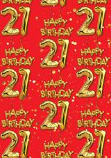 21st Birthday Gold Balloon Red Gift Wrap