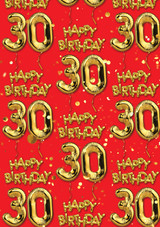 30th Birthday Gold Balloon Red Gift Wrap
