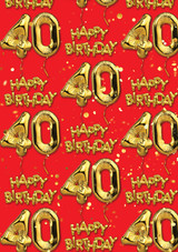 40th Birthday Gold Balloon Red Gift Wrap