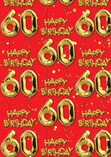 60th Birthday Gold Balloon Red Gift Wrap